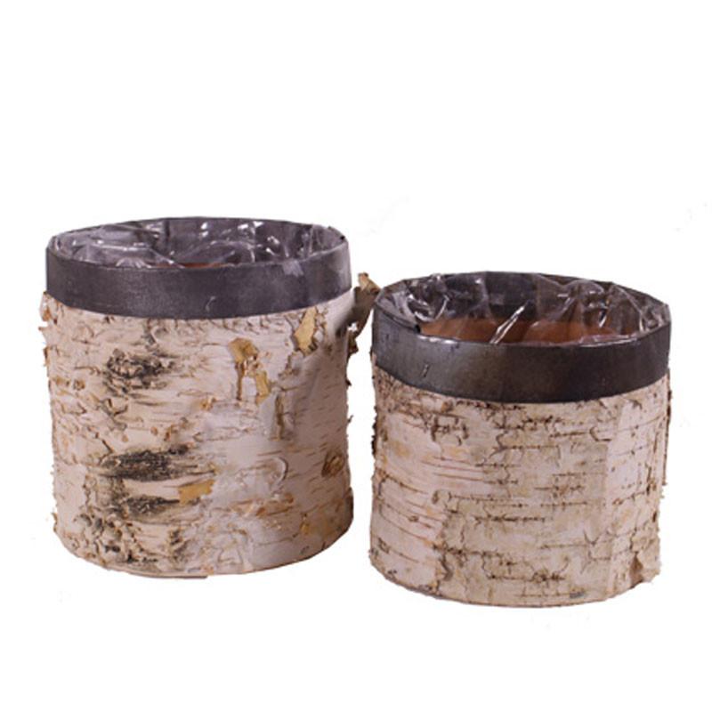 Set de 2 pots cylindres cerclage métal - Grossiste fleuriste contenant