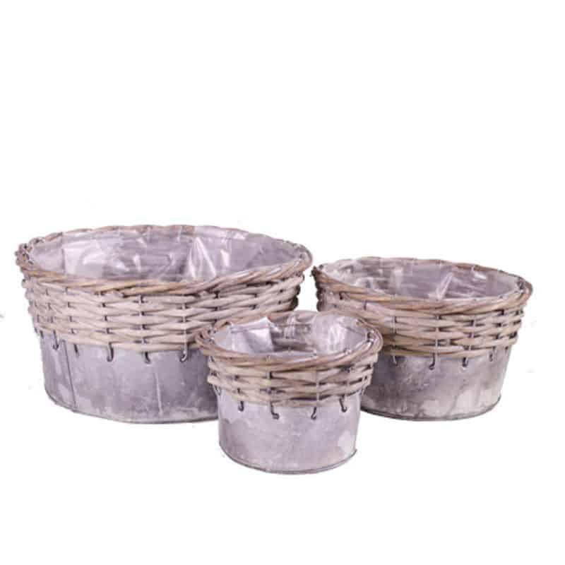 Set de 3 coupes zinc/osier - Grossiste fleuriste contenant composer