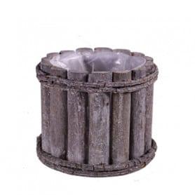 Pot rond en bois grisé Gavin
