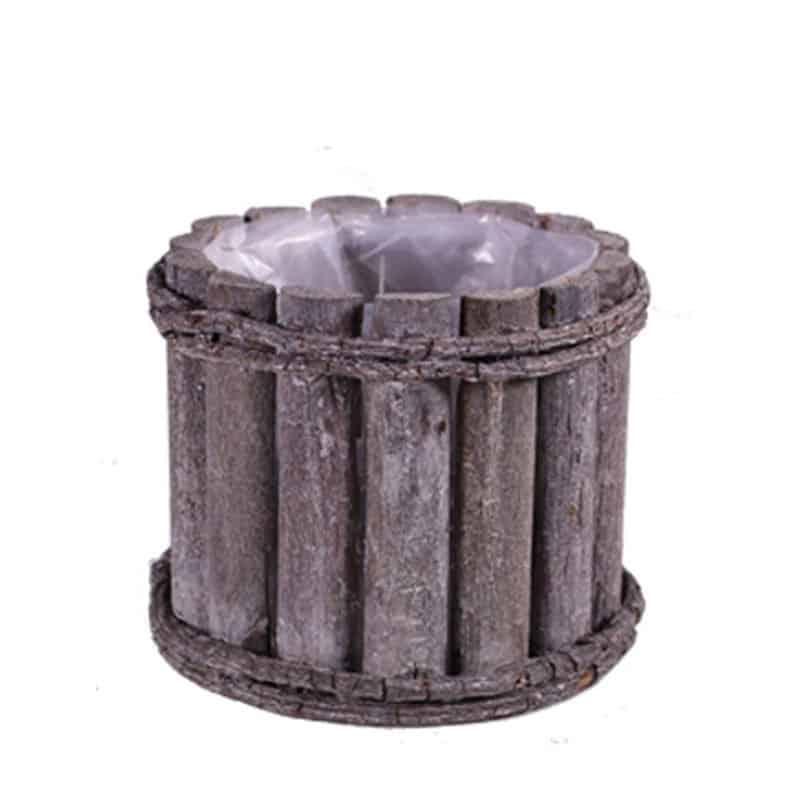 Pot rond en bois grisé - Grossiste fleuriste contenant vannerie Renaud
