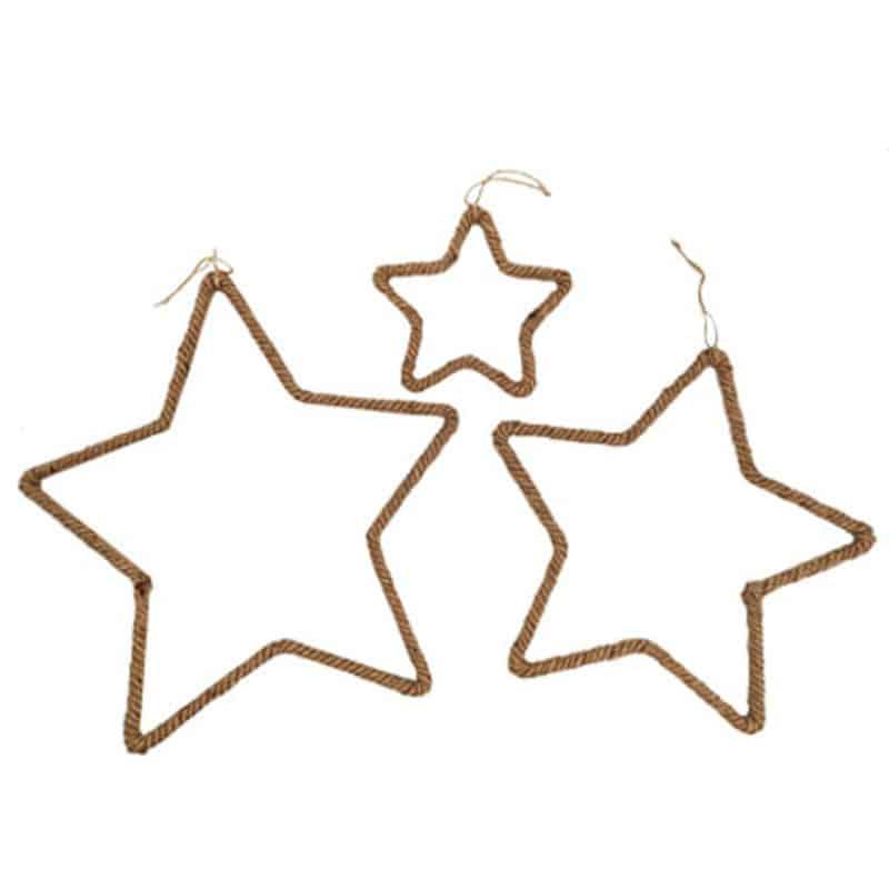 Set de 3 suspensions étoile en corde - Grossiste fleuriste décoration