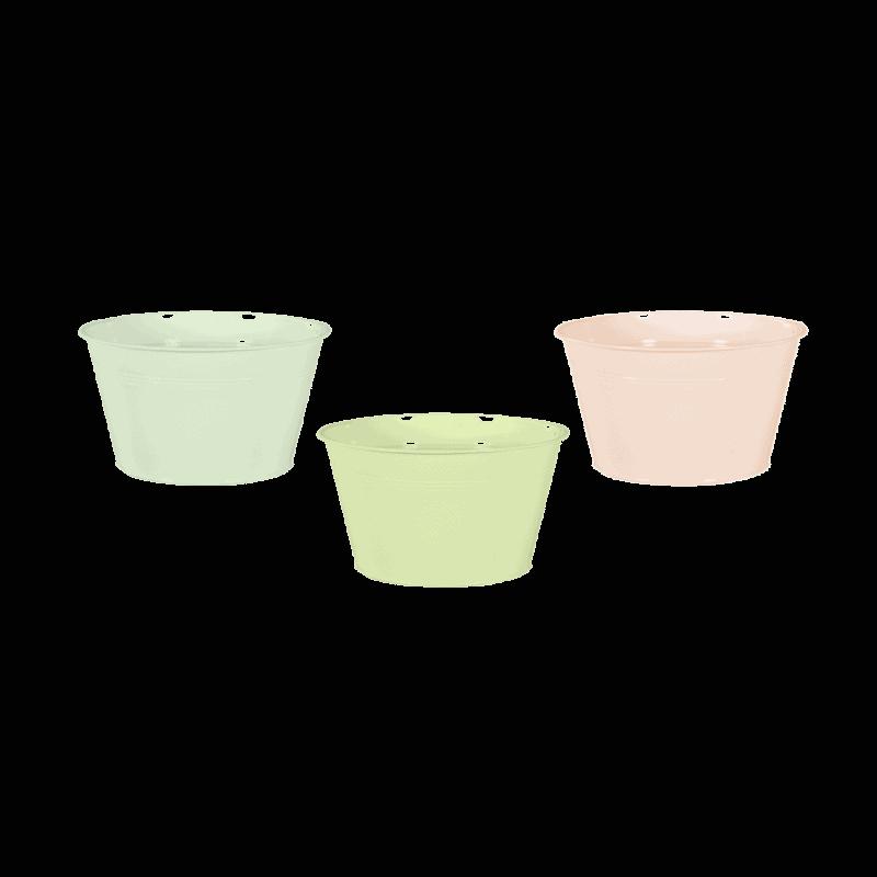 Coupe zinc nuances de vert - D. 19cm x H. 8cm - grossiste fleuriste