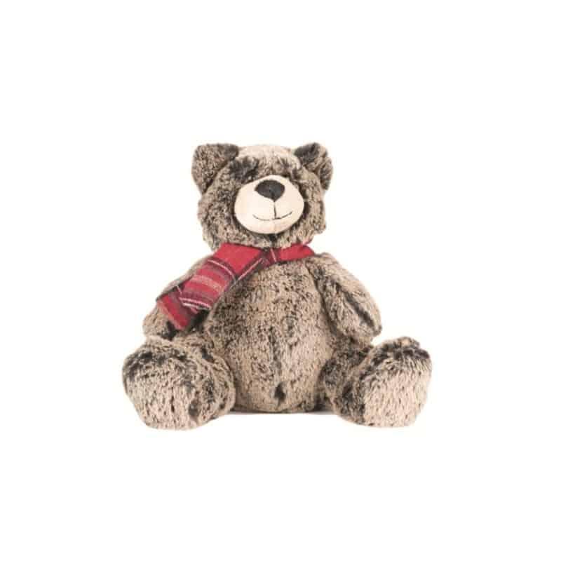 Ours gris chiné écharpe rouge Cadame - H. 20cm - grossiste déco enfant