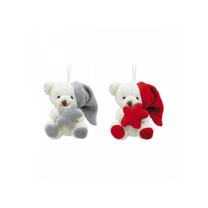 Duo d'ours à suspendre avec bonnet et étoile Malidou - grossiste déco enfant