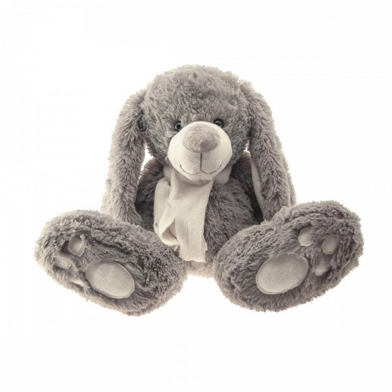Lapin gris écharpe blanche 40cm - grossiste fleuriste