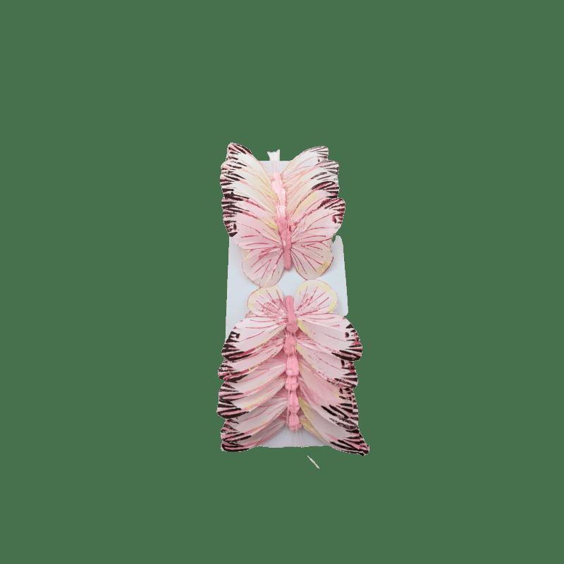 Papillons multicolores sur pic Hama - Boite de 12 - grossiste fleuriste