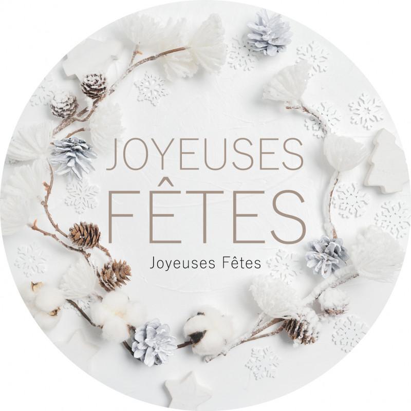 """Etiquettes rondes """"Joyeuses fêtes"""" D.12cm - grossiste fleuriste"""