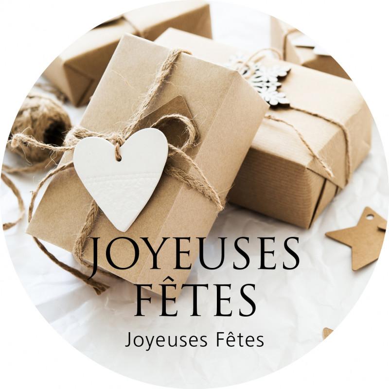 """Etiquettes rondes """"Joyeuses fêtes"""" Aymi - D.12cm"""