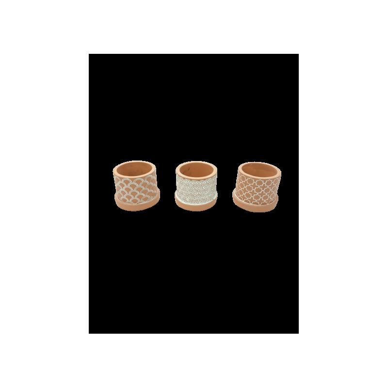 Pots ciments Timotei - D. 8cm x H. 7cm - grossiste contenant fleurs