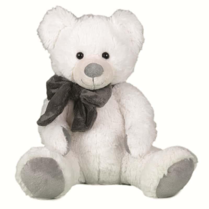 Peluche ours blanc nœud gris Toko - 40cm - grossiste fleuriste