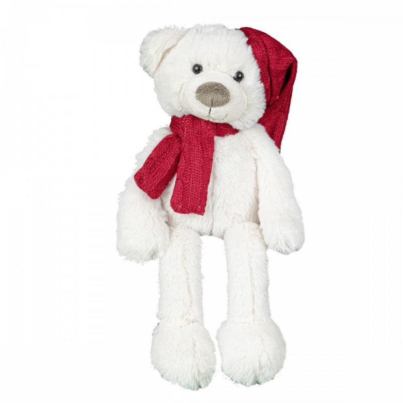 Peluche ours blanc écharpe & bonnet rouges Tokyo - 48cm - grossiste fleuriste