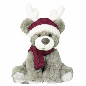 Peluche ours rennes rouges Milo - 25cm - grossiste fleuriste