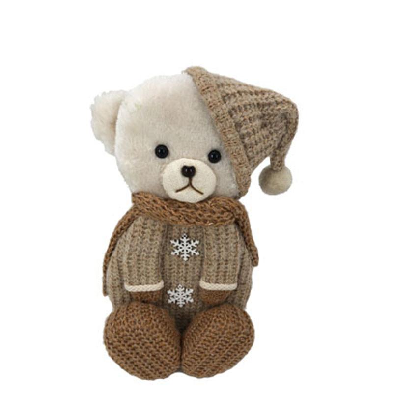 Ourson d'hiver tricot - Grossiste fleuriste décoration vitrine animaux