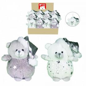 Ours bonnet étoiles blanc & gris Alban - H.13cm - grossiste noel