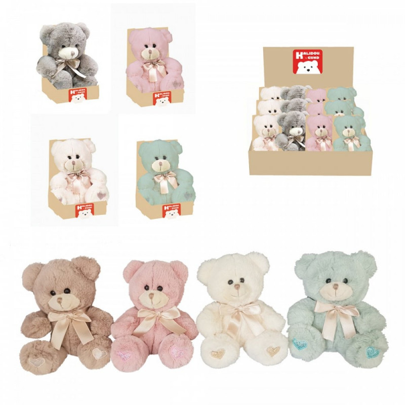 Peluches ours pastel - H.15cm - grossiste noël