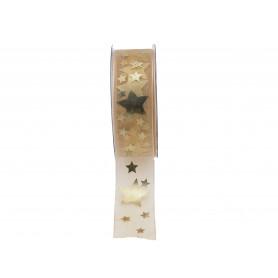 Ruban Stars or - 25mm x 20m
