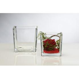 Vase cube en verre pour composition florale  - matériel fleuriste