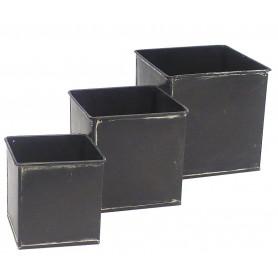 Pot carre zinc noir