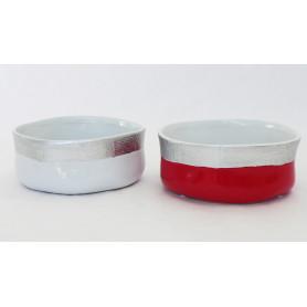 Coupe ronde céramique bicolore à rebord