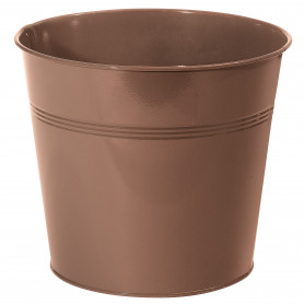 Pot rond métal marron
