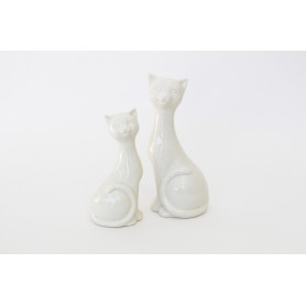 Figurine chat blanc céramique