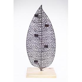Photophore porte-bougie feuille métal et socle en bois