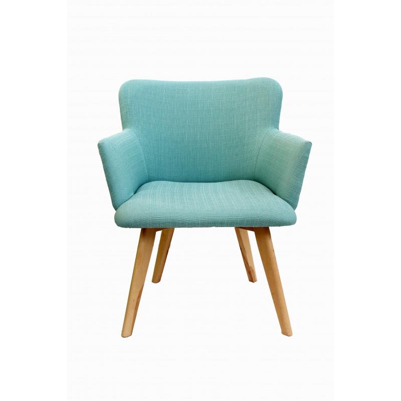 fauteuil r tro bois et tissu. Black Bedroom Furniture Sets. Home Design Ideas