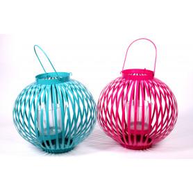 Lanterne colorée métal photophore