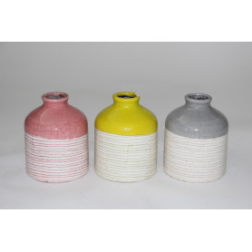 Soliflore motifs rayures ou pois céramique multicoloris D. 10,5 x H.13 cm