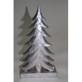 Sapin de Noël en bois argenté avec résine irisée  L. 11,9 x l. 4,8 x H. 23,1 cm
