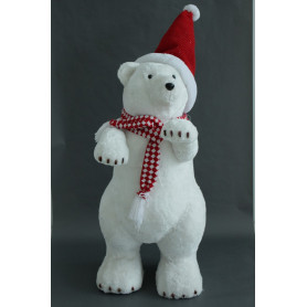 Ours blanc debout à bonnet de noël et écharpe