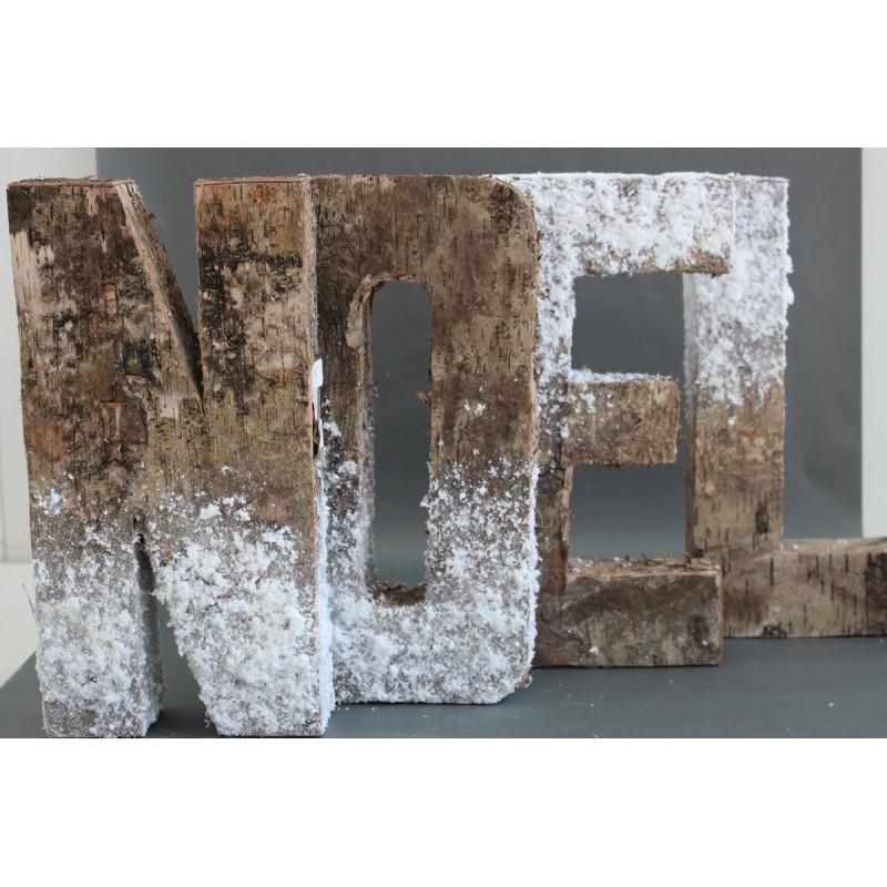Lot de lettres NOEL en bois brut enneigées à poser
