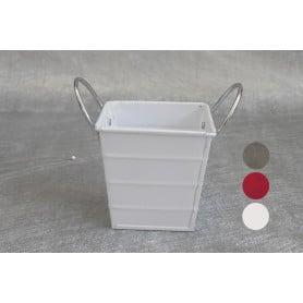Pot carré zinc anses chrome bandes en relief L. 8,5 x l. 8,5 x H. 8,5 cm