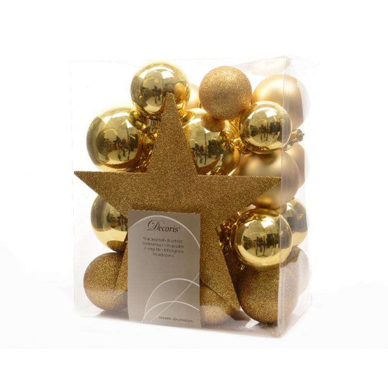 Boîte décorations sapin noël mat et brillant multicoloris