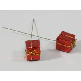 Cadeau sur pic d'agrément décoratif L. 25 x l. 25 x H. 25 mm