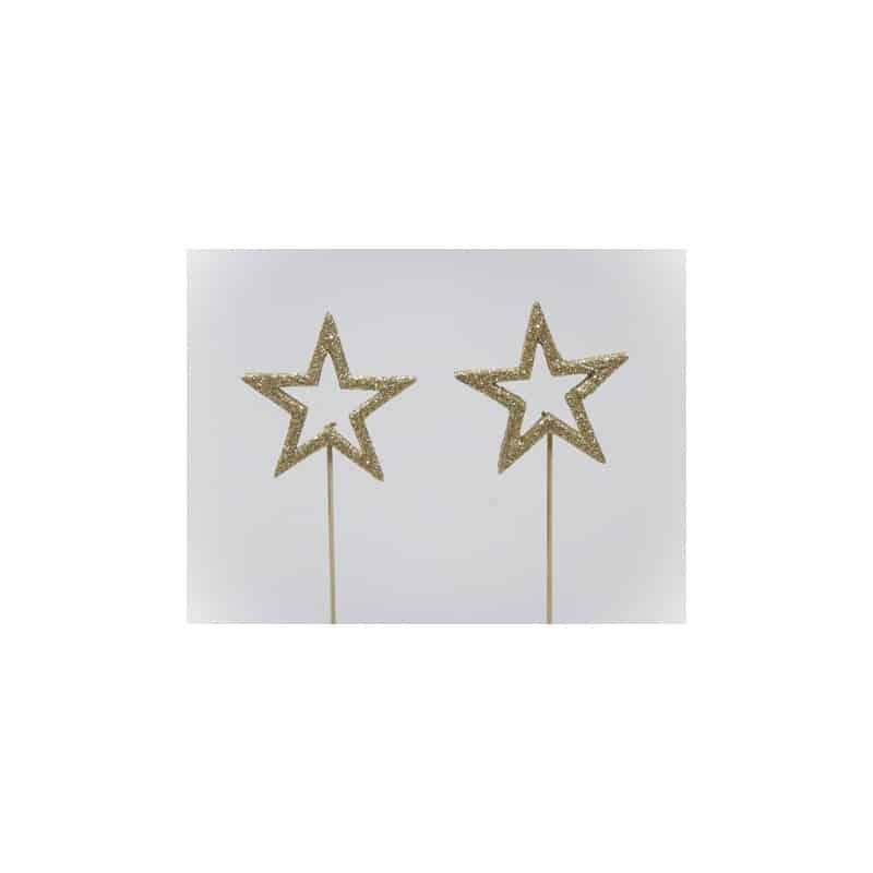 Étoile ajourée paillettes sur pic multicoloris L. 6 x l. 6 x H. 6 mm