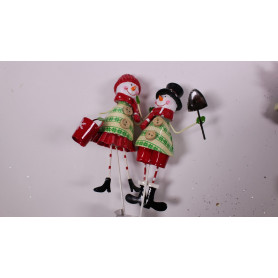 Pics Noël couple bonhommes de neige L. 7.5 x l. 3 x H. 11.8 cm