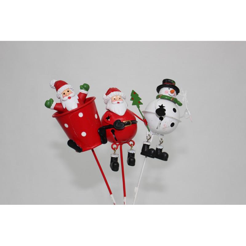 Personnages Noël métal sur pics d'agrément décoratifs H. 23 cm