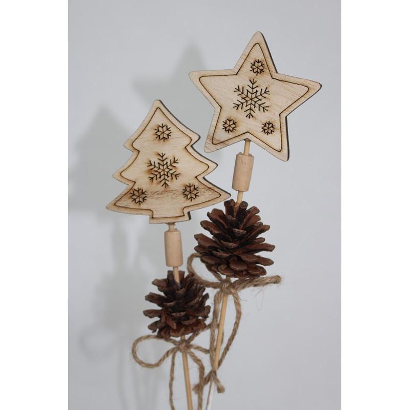 Pics Noël étoile et sapin bois naturel à planter L. 7 x l. 4 x H. 32 cm