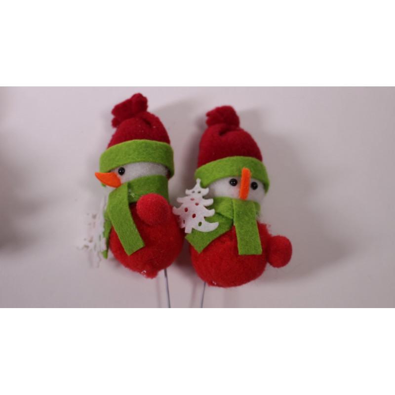 Pics Noël bonhommes de neige feutrine agrément décoratif  H. 7 cm