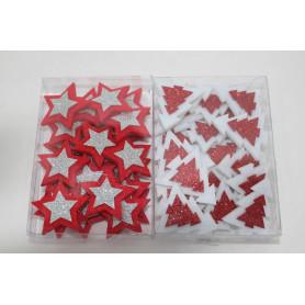 Boîte Noël étoiles et sapins en mousse à poser