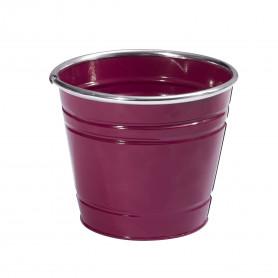 Pot rond métal violet rebord chrome D. 12,5 x H. 11,3 cm