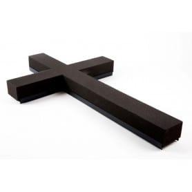 Croix mousse flroale deuil noire Oasis H. 100 cm - grossiste pompes funèbres