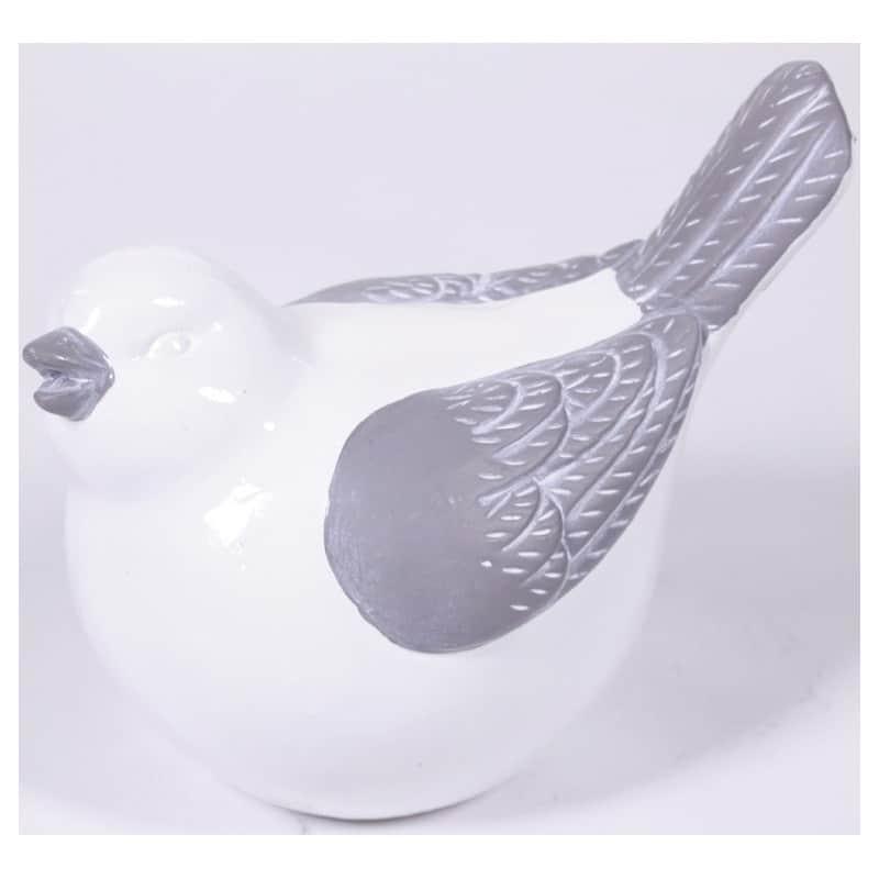Oiseau dodu céramique bicolore blanc et gris L. 17,2 x l. 9,8 x H. 13 cm