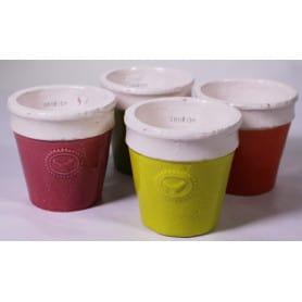 Pot céramique bicolore 4 coloris D. 11,5 x H. 11,5 cm