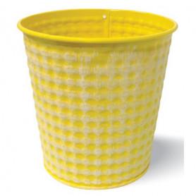 Pot rond métal jaune blanchi relief D. 12 x H. 12 cm