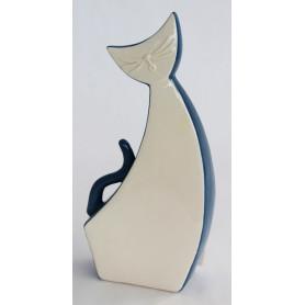 Chat assis design céramique bleu et blanc L. 12,5 x l. 6 x H. 26,5 cm