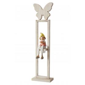 Support bois papillons avec pot suspendu L. 15 x l. 5 x H. 59 cm