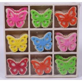 Papillons bois à poser multicoloris L. 3.5 cm