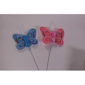 Papillons sur pics multicoloris L. 4,5 cm